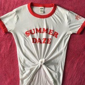 PINK Summer Daze ringer tee